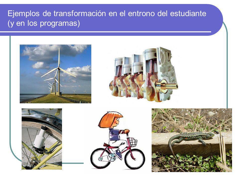 Ejemplos de transformación en el entrono del estudiante (y en los programas)