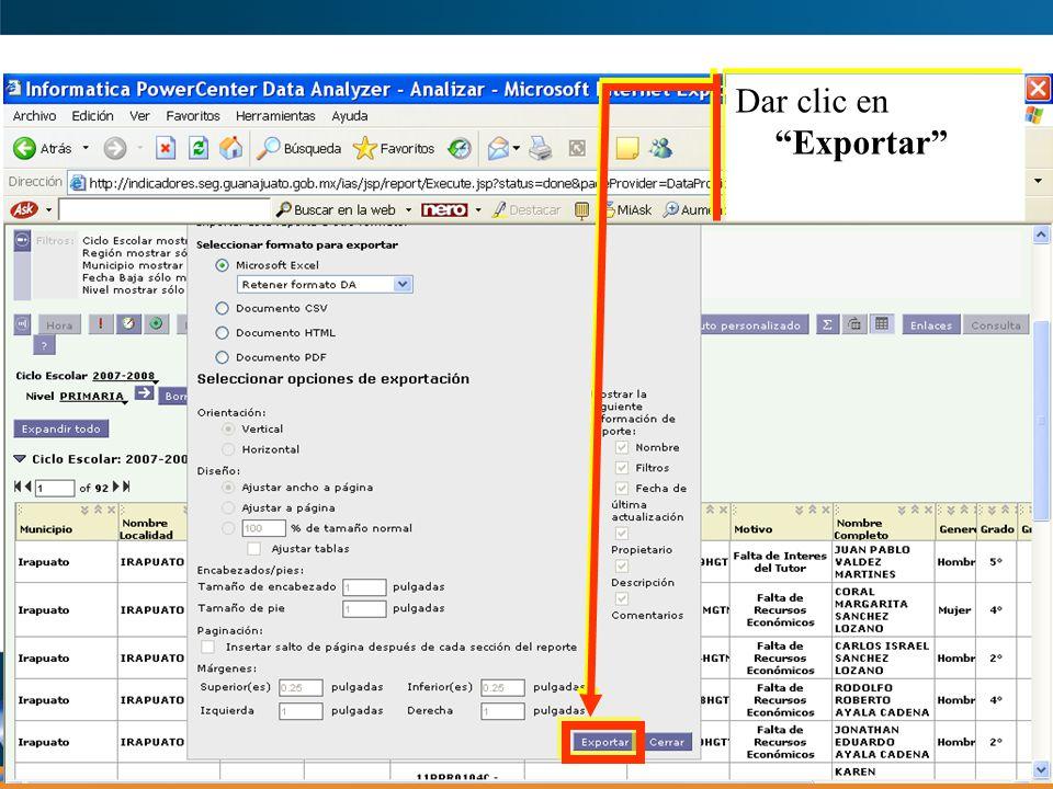 Dar clic en Exportar