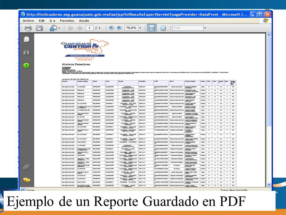 Ejemplo de un Reporte Guardado en PDF