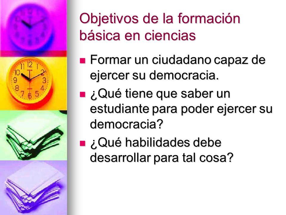 Objetivos de la formación básica en ciencias