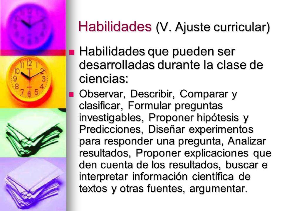 Habilidades (V. Ajuste curricular)