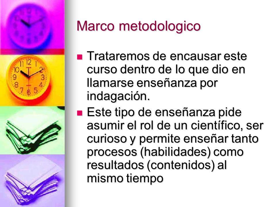 Marco metodologico Trataremos de encausar este curso dentro de lo que dio en llamarse enseñanza por indagación.