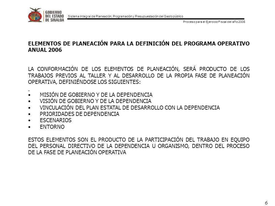 ELEMENTOS DE PLANEACIÓN PARA LA DEFINICIÓN DEL PROGRAMA OPERATIVO ANUAL 2006