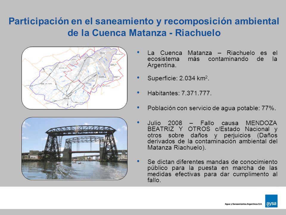 Participación en el saneamiento y recomposición ambiental de la Cuenca Matanza - Riachuelo