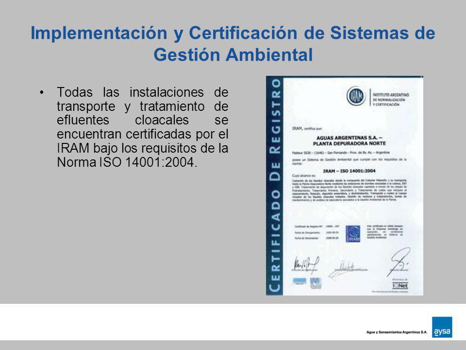Implementación y Certificación de Sistemas de Gestión Ambiental