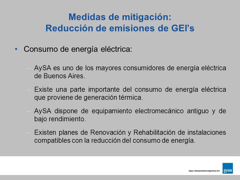 Medidas de mitigación: Reducción de emisiones de GEI's