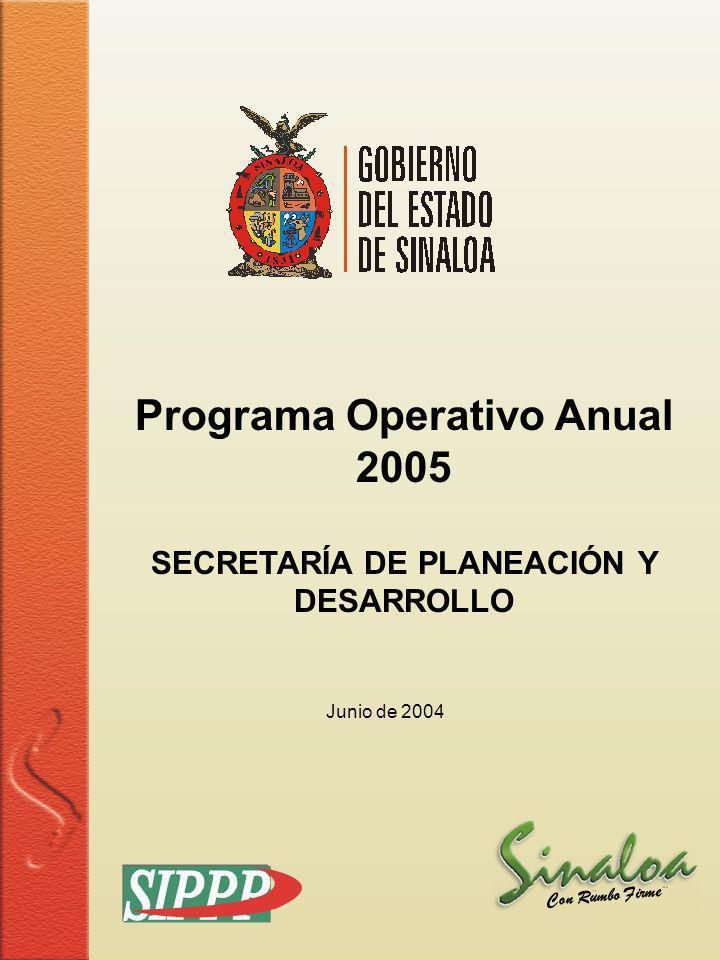 Programa Operativo Anual SECRETARÍA DE PLANEACIÓN Y DESARROLLO