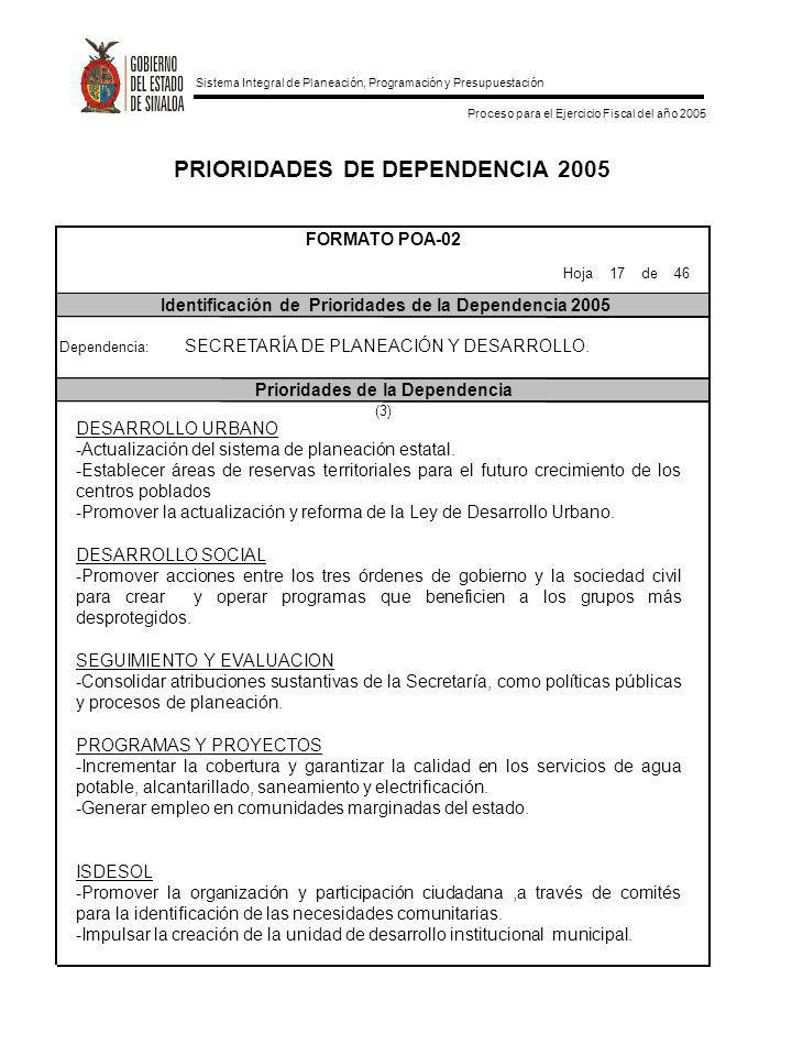 PRIORIDADES DE DEPENDENCIA 2005