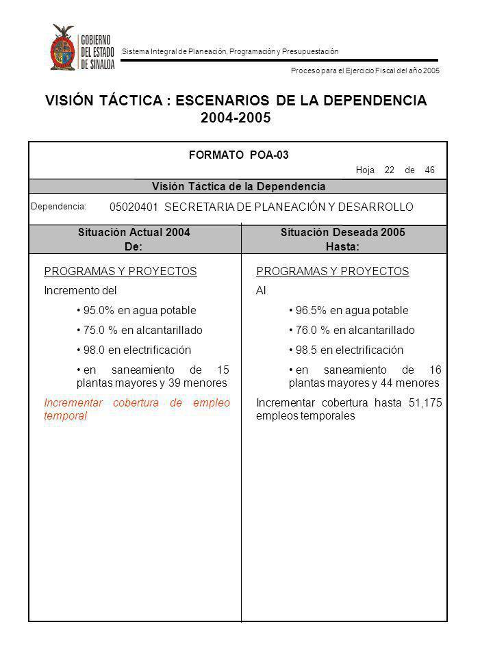 VISIÓN TÁCTICA : ESCENARIOS DE LA DEPENDENCIA 2004-2005