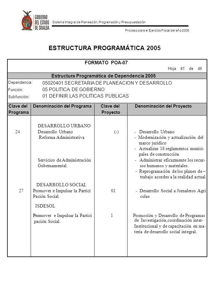 ESTRUCTURA PROGRAMÁTICA 2005