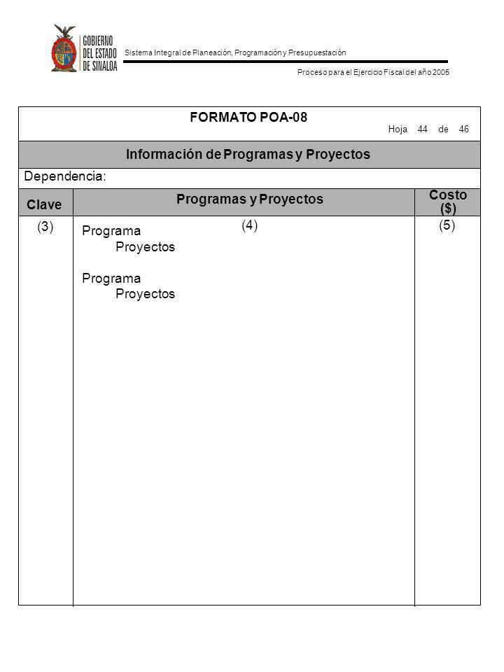 Información de Programas y Proyectos