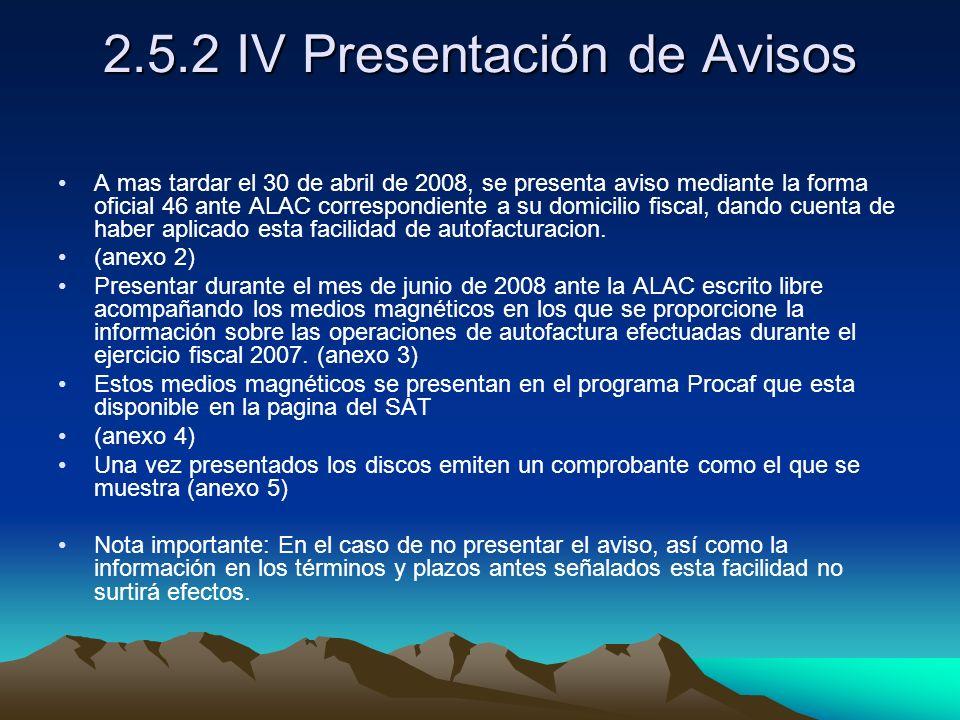 2.5.2 IV Presentación de Avisos