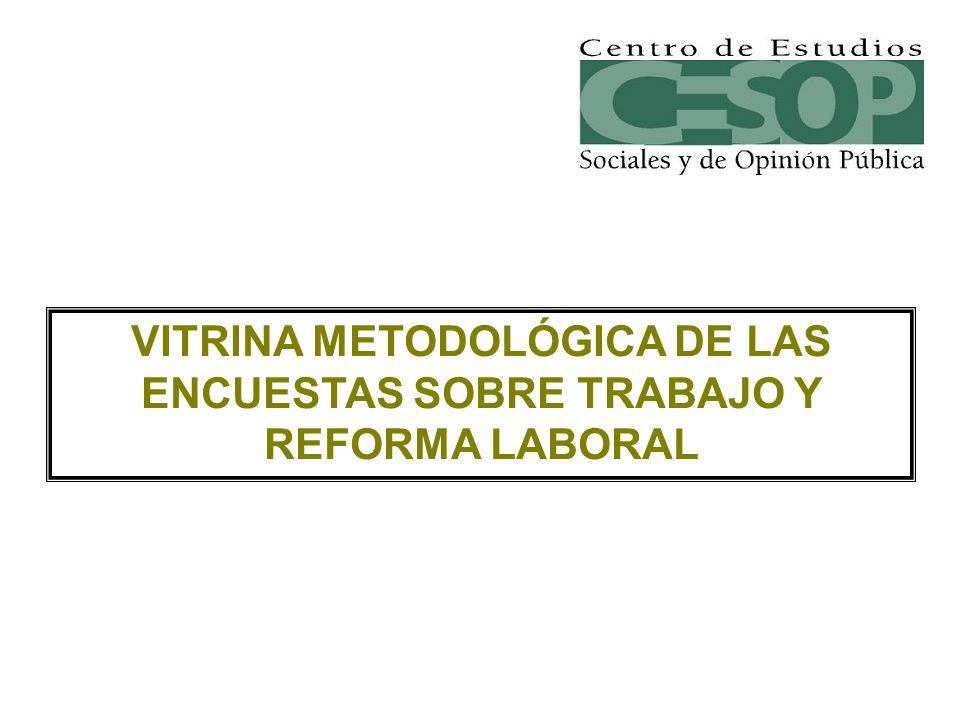 VITRINA METODOLÓGICA DE LAS ENCUESTAS SOBRE TRABAJO Y REFORMA LABORAL