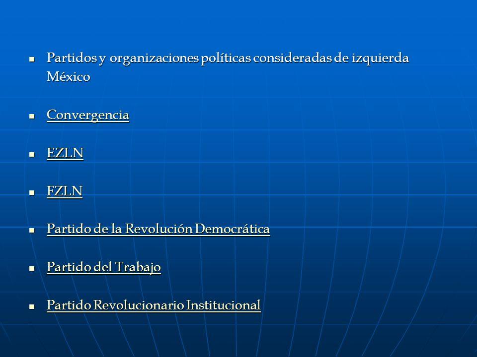 Partidos y organizaciones políticas consideradas de izquierda