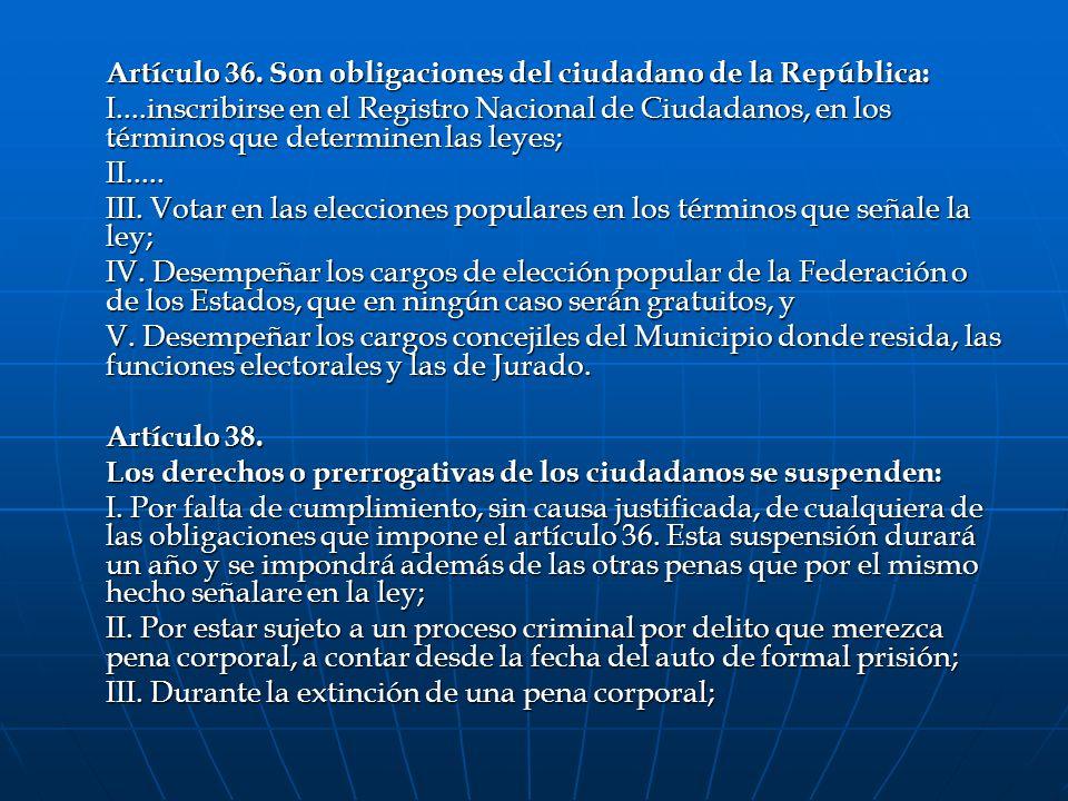 Artículo 36. Son obligaciones del ciudadano de la República: