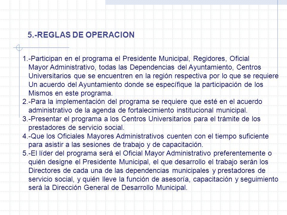 5.-REGLAS DE OPERACION 1.-Participan en el programa el Presidente Municipal, Regidores, Oficial.