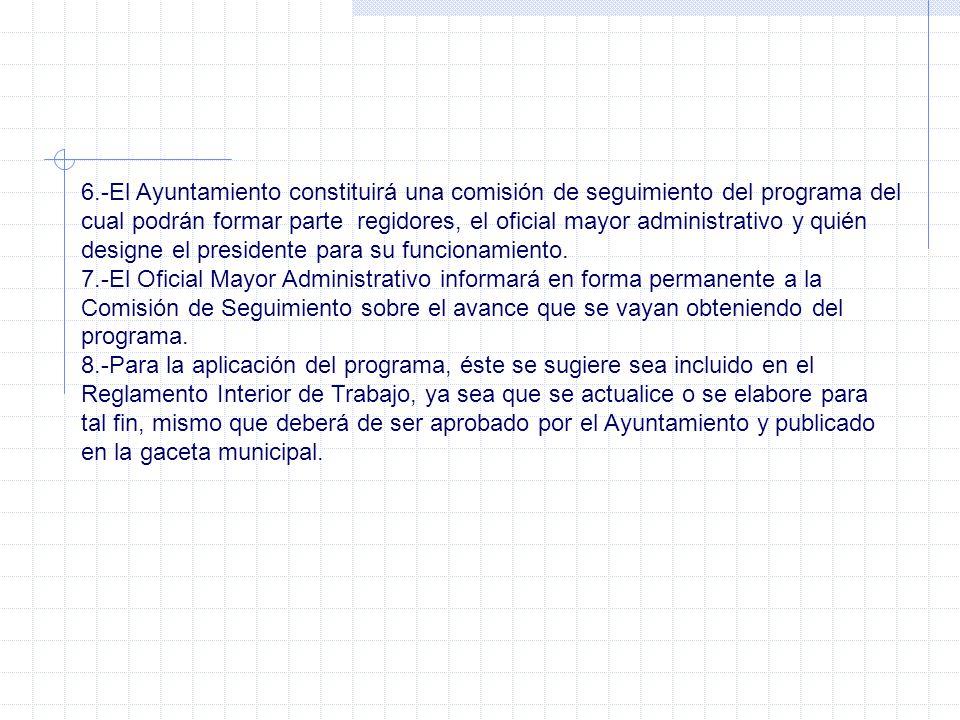 6.-El Ayuntamiento constituirá una comisión de seguimiento del programa del cual podrán formar parte regidores, el oficial mayor administrativo y quién designe el presidente para su funcionamiento.