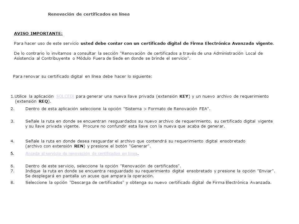 Renovación de certificados en línea