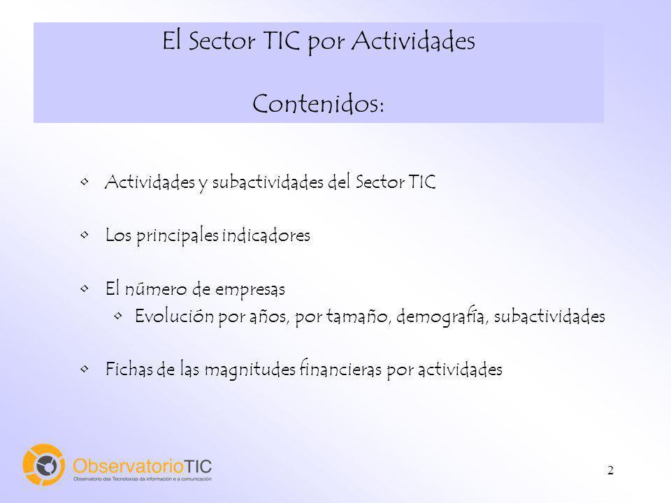 El Sector TIC por Actividades Contenidos: