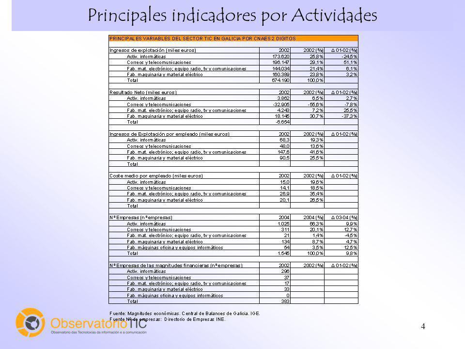 Principales indicadores por Actividades