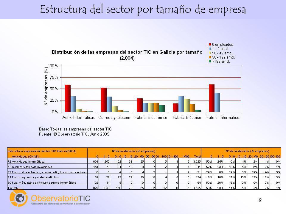 Estructura del sector por tamaño de empresa