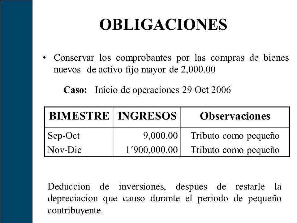 Caso: Inicio de operaciones 29 Oct 2006