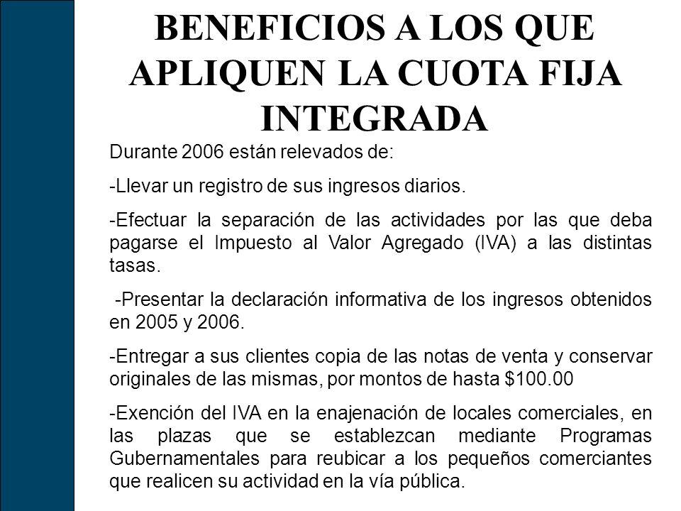 BENEFICIOS A LOS QUE APLIQUEN LA CUOTA FIJA INTEGRADA