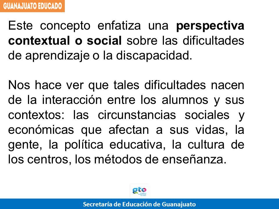 Este concepto enfatiza una perspectiva contextual o social sobre las dificultades de aprendizaje o la discapacidad.