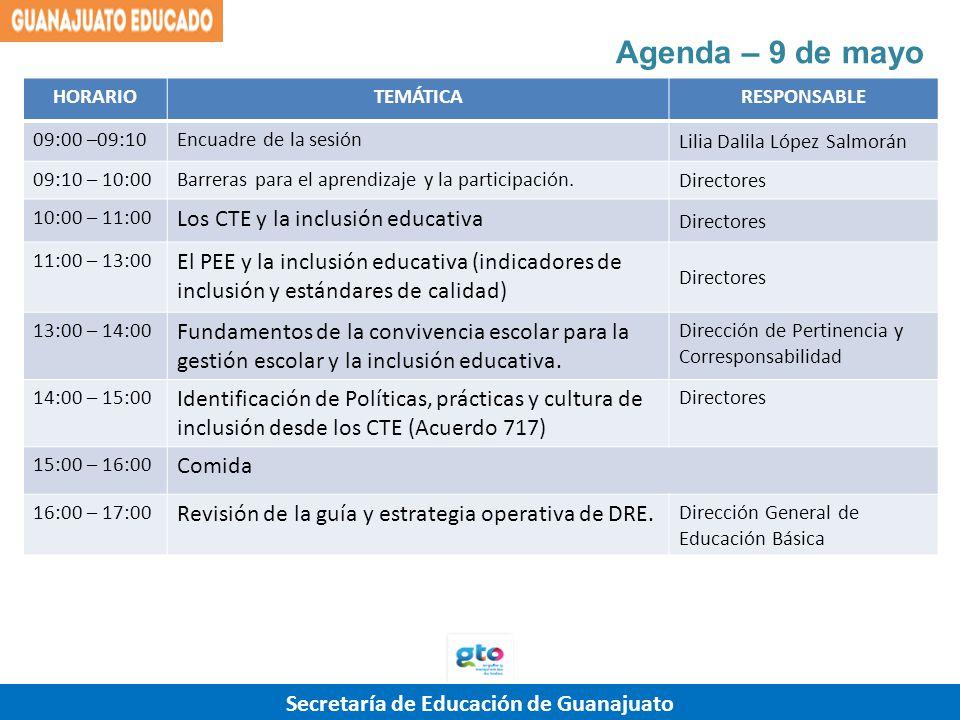 Agenda – 9 de mayo Los CTE y la inclusión educativa