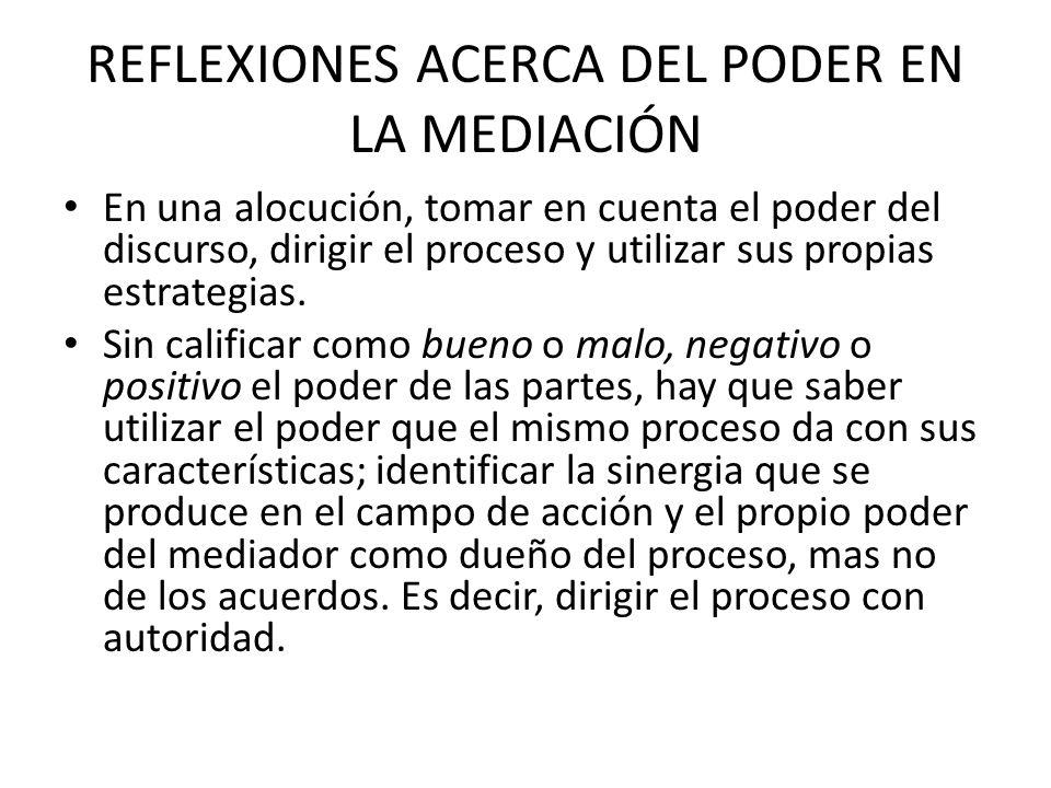 REFLEXIONES ACERCA DEL PODER EN LA MEDIACIÓN