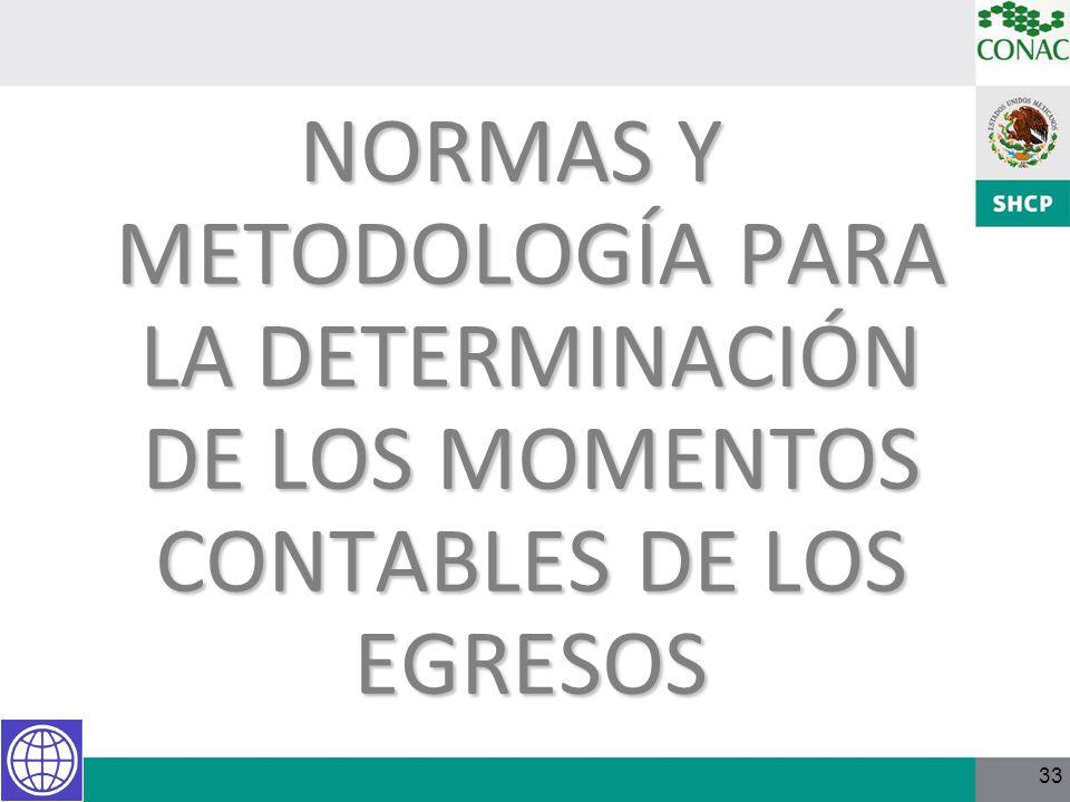 NORMAS Y METODOLOGÍA PARA LA DETERMINACIÓN DE LOS MOMENTOS CONTABLES DE LOS EGRESOS