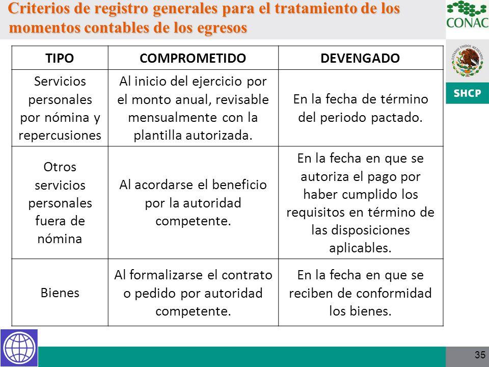 Criterios de registro generales para el tratamiento de los momentos contables de los egresos