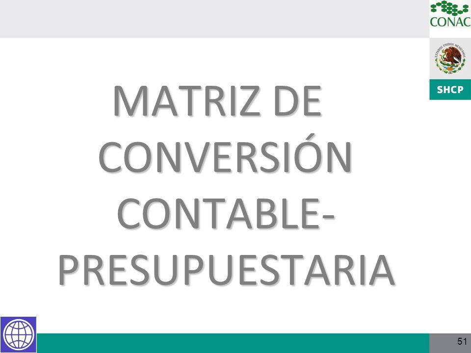 MATRIZ DE CONVERSIÓN CONTABLE-PRESUPUESTARIA