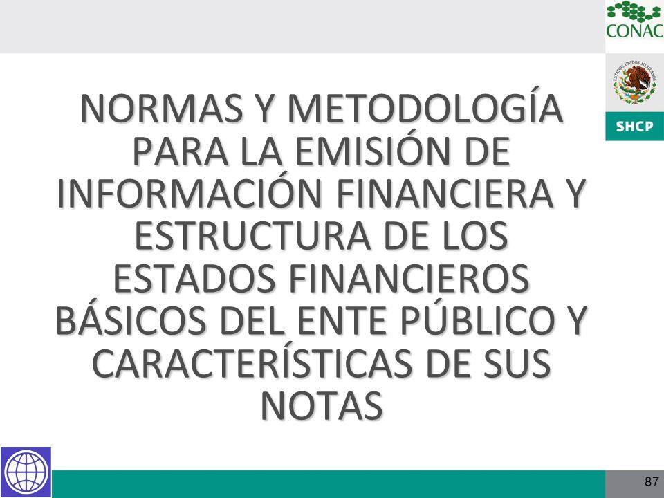 NORMAS Y METODOLOGÍA PARA LA EMISIÓN DE INFORMACIÓN FINANCIERA Y ESTRUCTURA DE LOS ESTADOS FINANCIEROS BÁSICOS DEL ENTE PÚBLICO Y CARACTERÍSTICAS DE SUS NOTAS