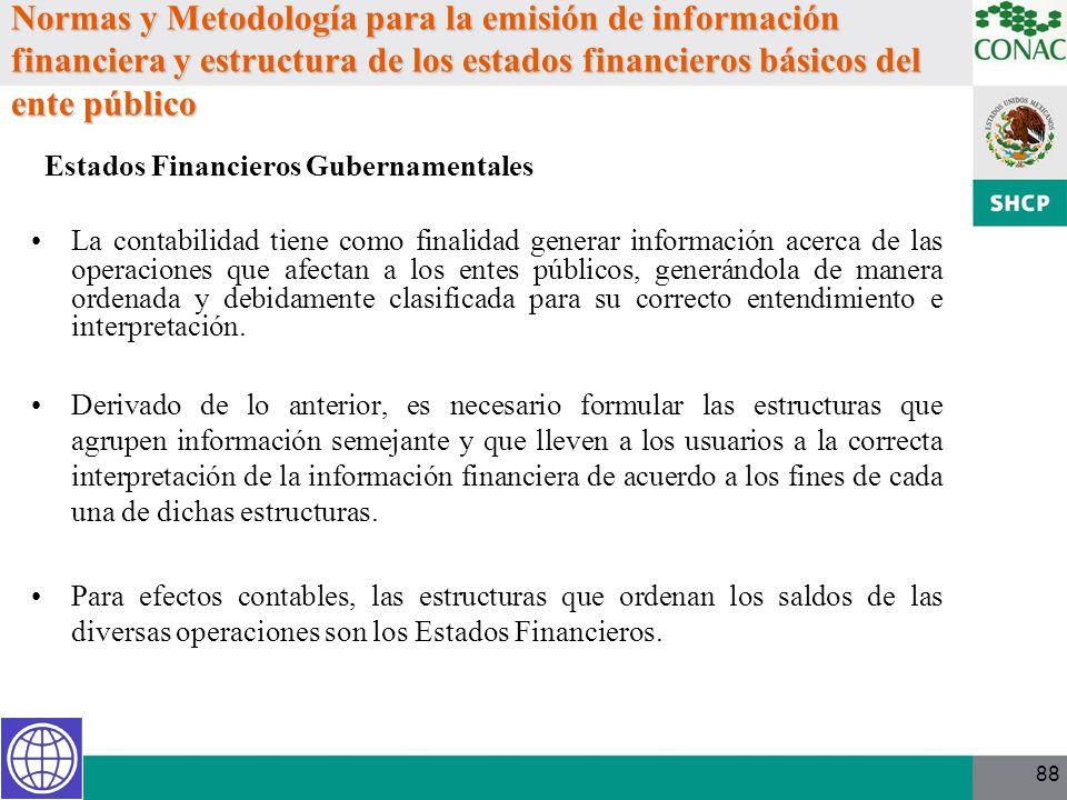 Normas y Metodología para la emisión de información financiera y estructura de los estados financieros básicos del ente público