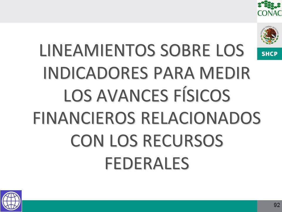 LINEAMIENTOS SOBRE LOS INDICADORES PARA MEDIR LOS AVANCES FÍSICOS FINANCIEROS RELACIONADOS CON LOS RECURSOS FEDERALES