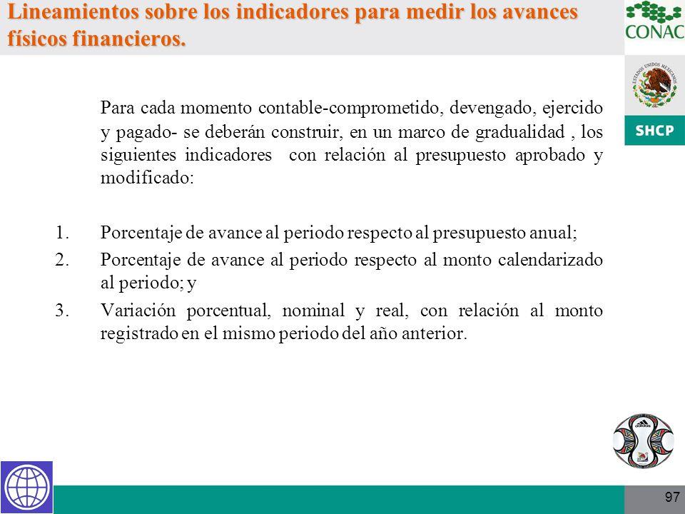 Lineamientos sobre los indicadores para medir los avances físicos financieros.