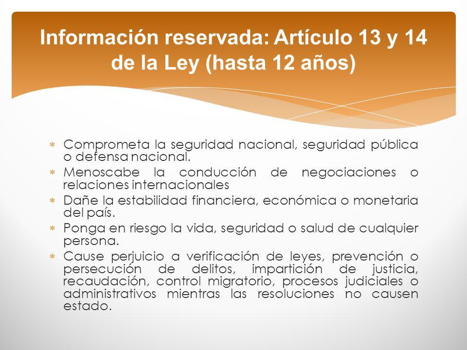 Información reservada: Artículo 13 y 14 de la Ley (hasta 12 años)