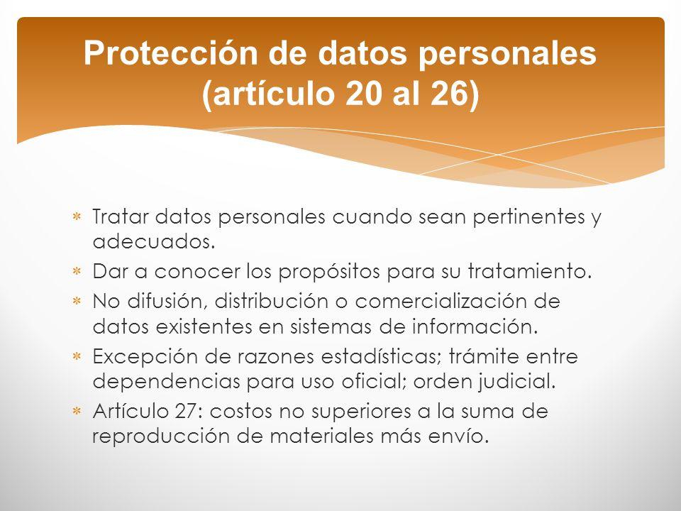 Protección de datos personales (artículo 20 al 26)