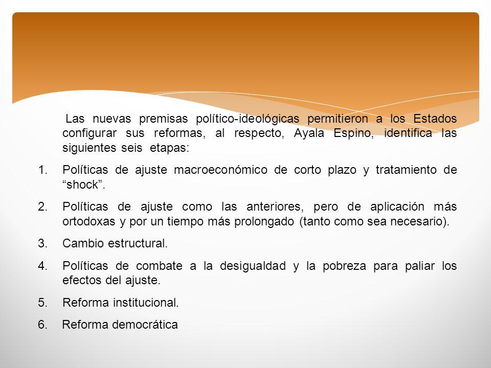 Las nuevas premisas político-ideológicas permitieron a los Estados configurar sus reformas, al respecto, Ayala Espino, identifica las siguientes seis etapas: