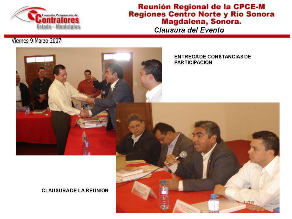 Viernes 9 Marzo 2007 Clausura del Evento