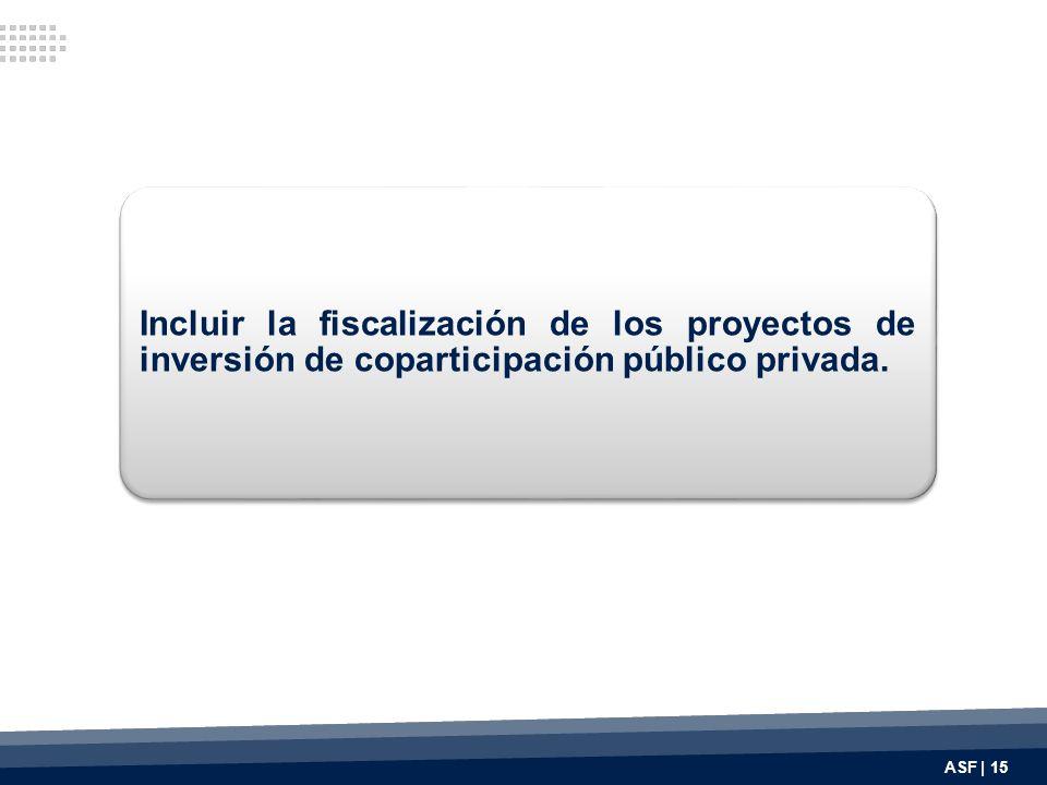 Incluir la fiscalización de los proyectos de inversión de coparticipación público privada.