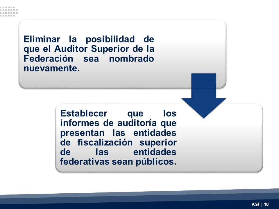 Eliminar la posibilidad de que el Auditor Superior de la Federación sea nombrado nuevamente.