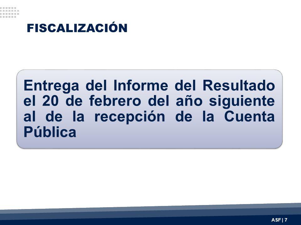 FISCALIZACIÓN Entrega del Informe del Resultado el 20 de febrero del año siguiente al de la recepción de la Cuenta Pública.