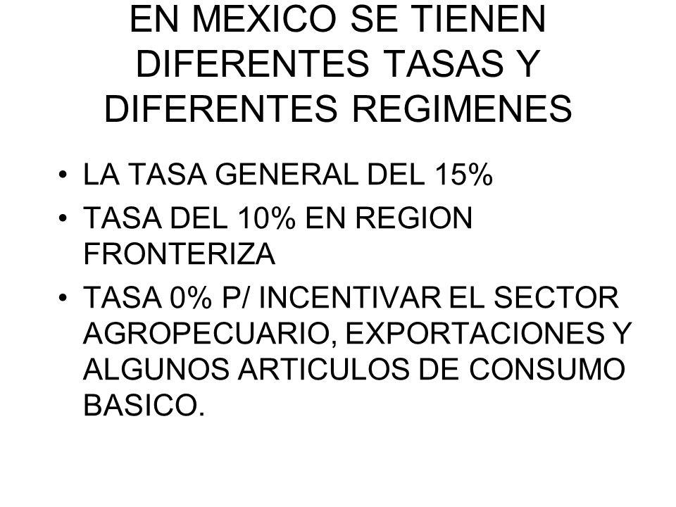 EN MEXICO SE TIENEN DIFERENTES TASAS Y DIFERENTES REGIMENES