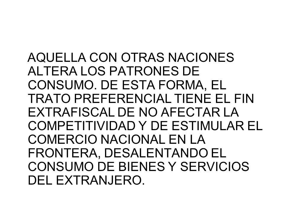 AQUELLA CON OTRAS NACIONES ALTERA LOS PATRONES DE CONSUMO