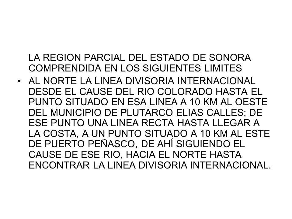 LA REGION PARCIAL DEL ESTADO DE SONORA COMPRENDIDA EN LOS SIGUIENTES LIMITES