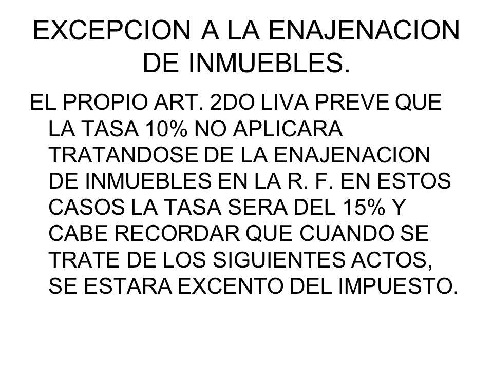 EXCEPCION A LA ENAJENACION DE INMUEBLES.