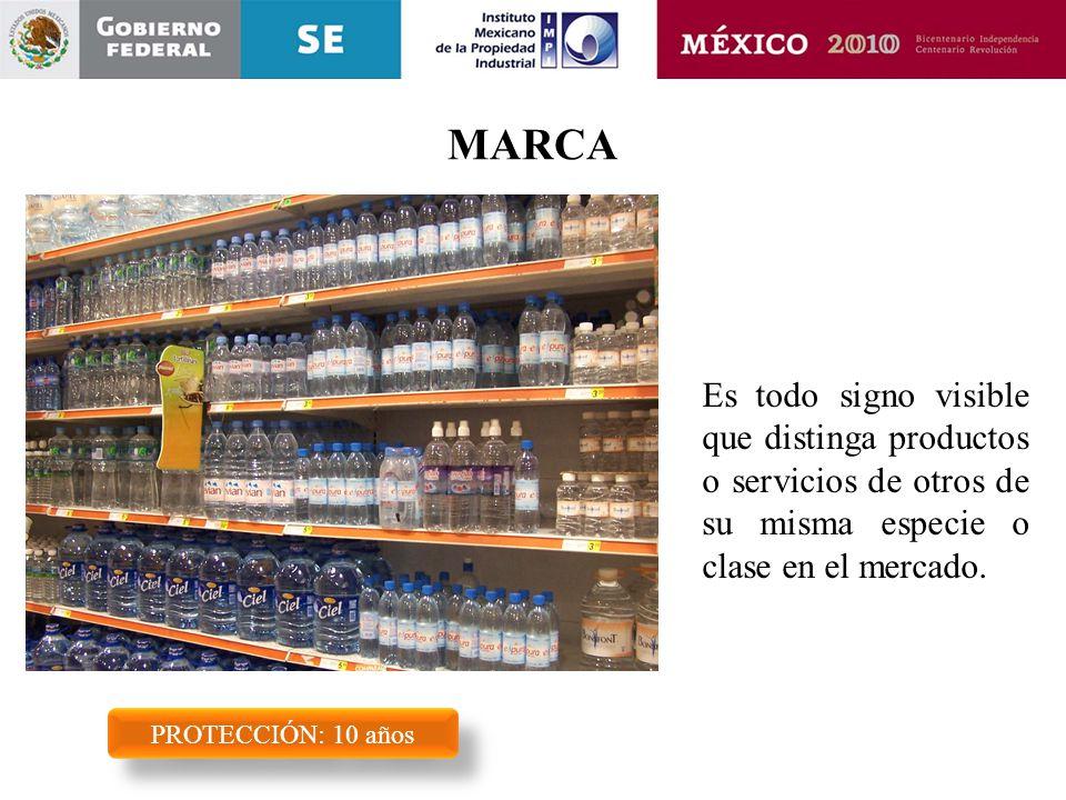 MARCA Es todo signo visible que distinga productos o servicios de otros de su misma especie o clase en el mercado.