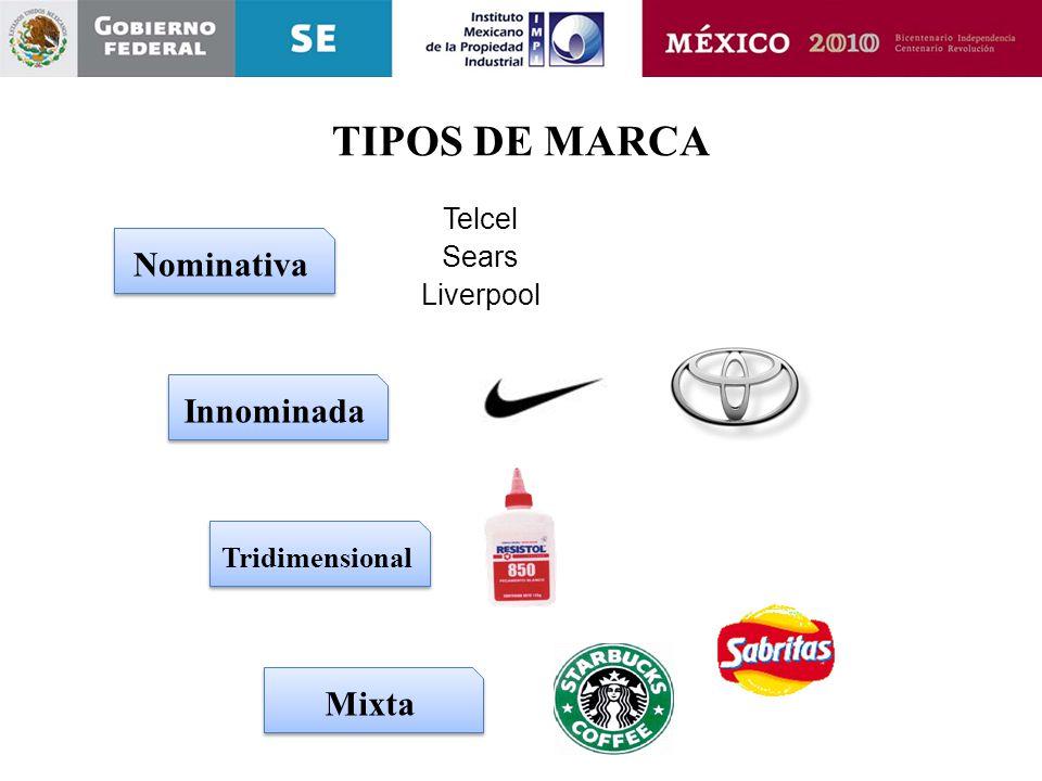 TIPOS DE MARCA Nominativa Innominada Mixta Telcel Sears Liverpool